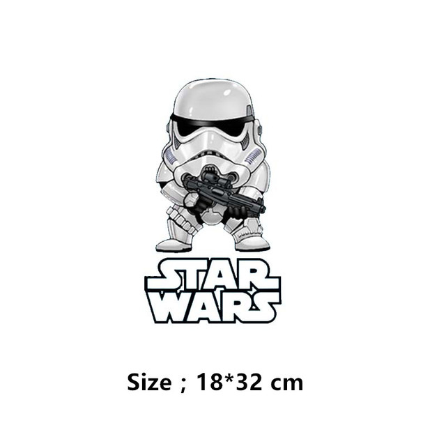 Cartoon STAR WARS stickers patches 18*32cm T-shirt Dresses Sweater Washable thermal transfer Printed Patch for clothing