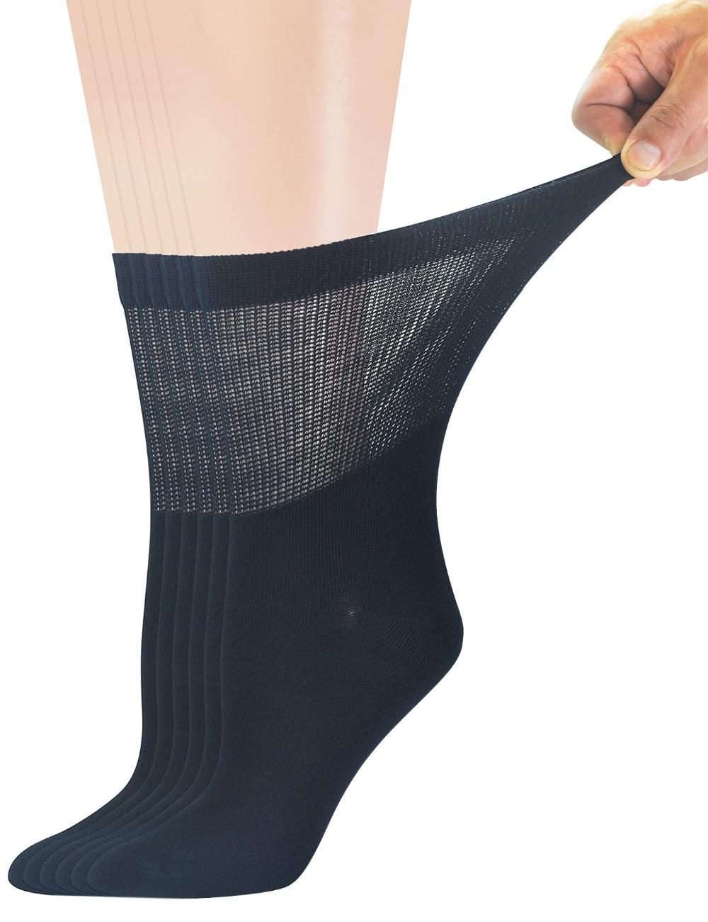Womens Diabetic Solid Black Socks 1