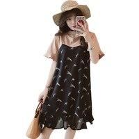 Floral Ladies Dresses Large Sizes Casual Summer Midi Chiffon Women Dress Chiffon Tunique Kleider Damen Tshirt Dress C67F