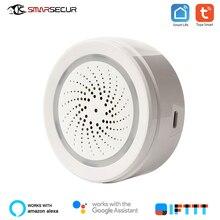 SMARSECUR inteligentny dom bezprzewodowy WiFi syrena alarmowa czujnik USB zasilanie przez tuya inteligentne życie z czujnikiem temperatury i wilgotności