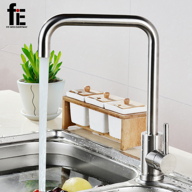 fiE Hot And Cold Water Kitchen Faucet Modern Kitchen Mixer Tap 304 Stainless Steel