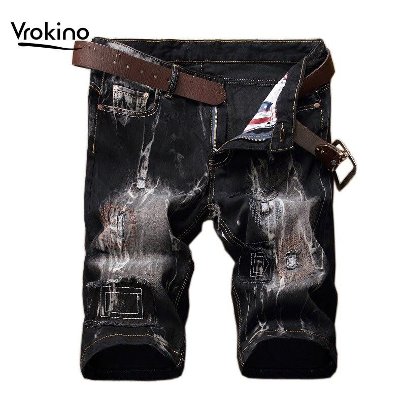VROKINO2020 новые мужские брюки шорты мужские Hi Distressed уличные летние шорты стильные высококачественные до колена черные желтые 40 42 44