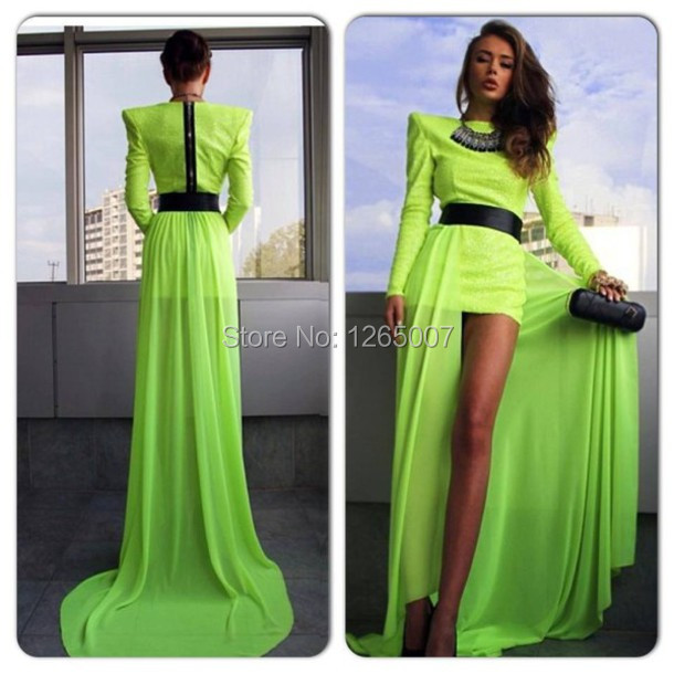 Online Shop Fashion Prom Dress Long Sleeves Front Short And Long ...