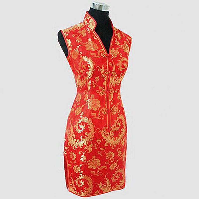 Sexy Black Red  Qipao Chinese Tradition Ladies Women Cheongsam Lady Slim Vetidos Wedding Mini Club Dress Size S M L Xl XXL XXXL