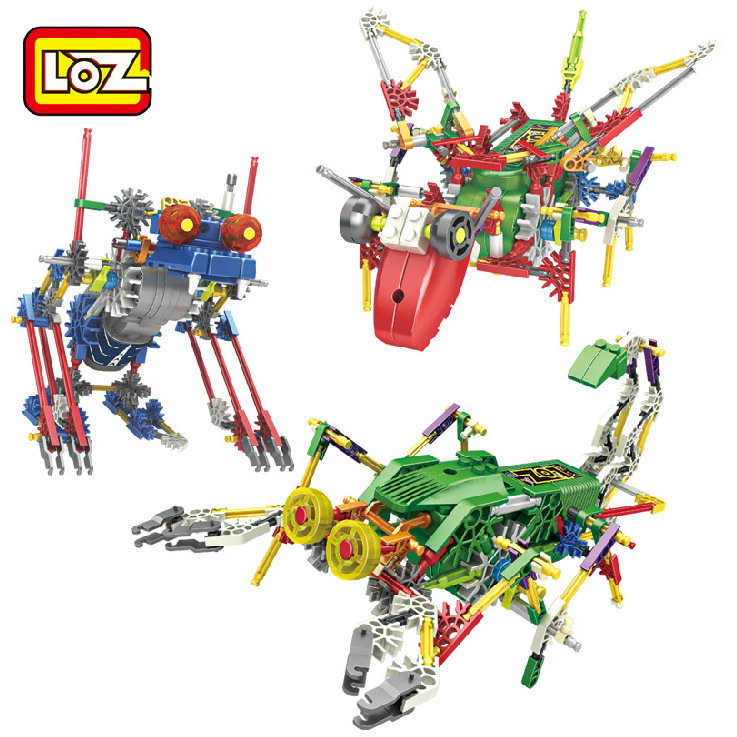 LOZ Robot Blocks Electric Building Blocks Assembly DIY Educational Dinosaur Model Toys For Children Kids Gifts 3019-3021 super cool 115pcs set forklift trucks assembly building blocks kits children educational puzzle toys kids birthday gifts