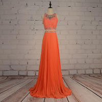2 Piece Prom dress for Graduation Beaded Party Dress Lace Rhinestones A Line Chiffon Coral Evening Dress vestido de festa