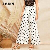 SHEIN Boho White Paperbag Waist Polka Dot Wide Leg Belted Loose Pants 2019 Spring Women Modern Lady Elegant Mid Waist Pants
