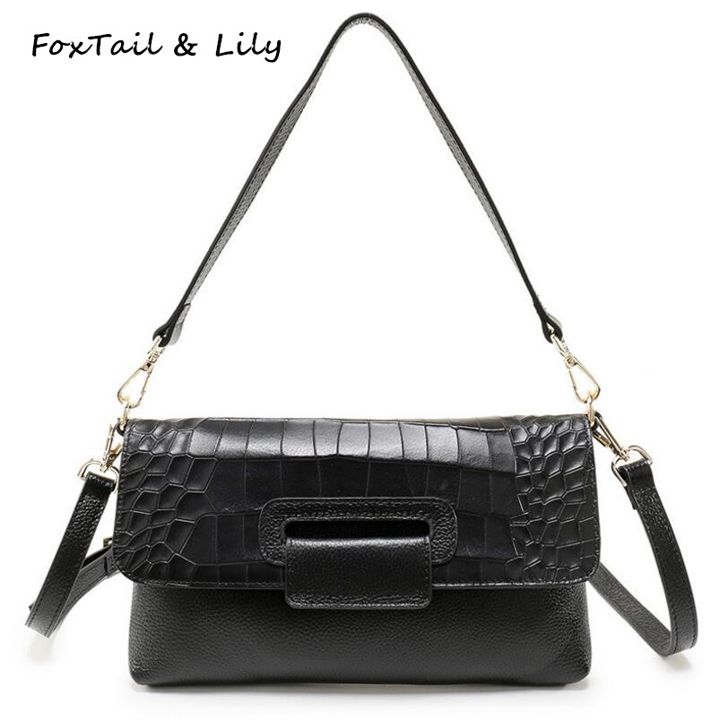 FoxTail & Lily Fashion Crocodile Pattern Envelope Clutch Bag Women Genuine Leather Casual Shoulder Messenger Bags Luxury Quality