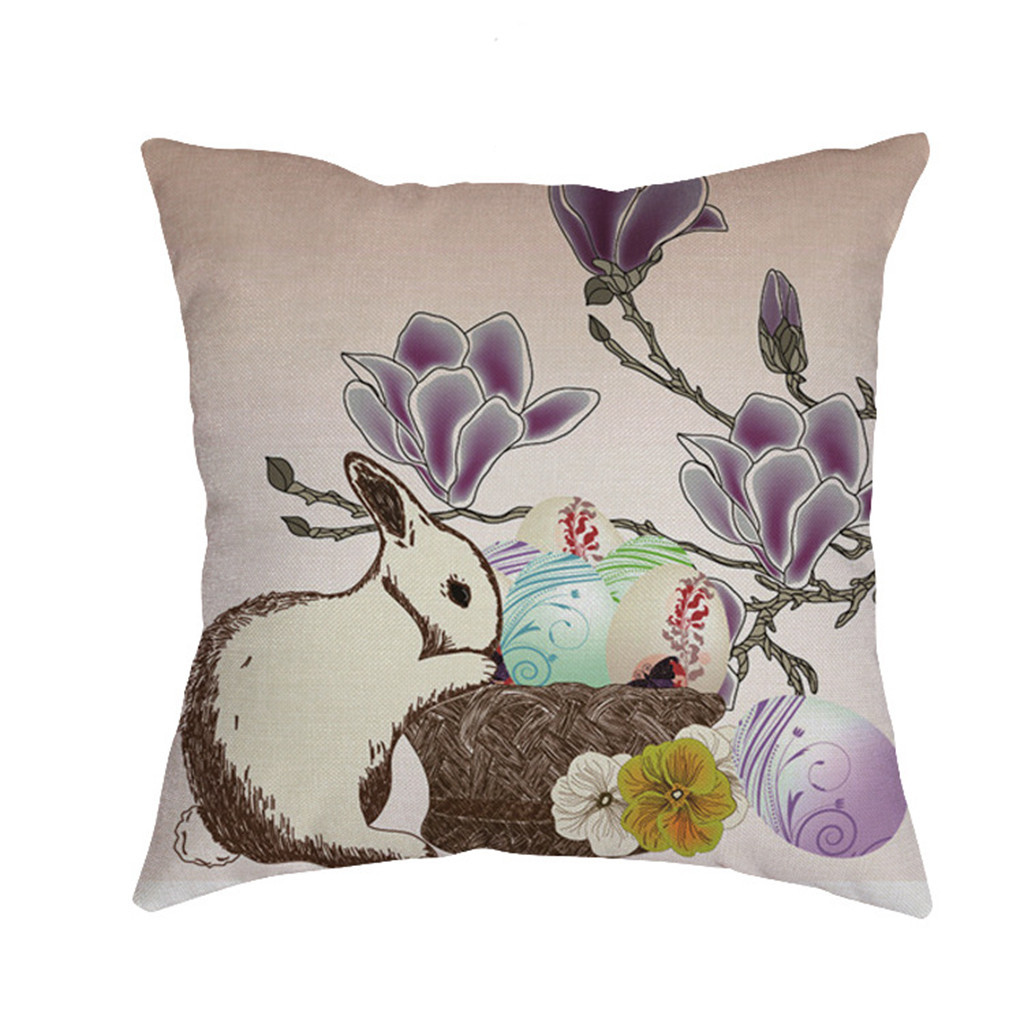 Image 4 - Cute rabbit print Cushion cover Easter Sofa Bed Home Decoration Festival Environmental protection Pillowcases Cushion Cover-in Cushion Cover from Home & Garden