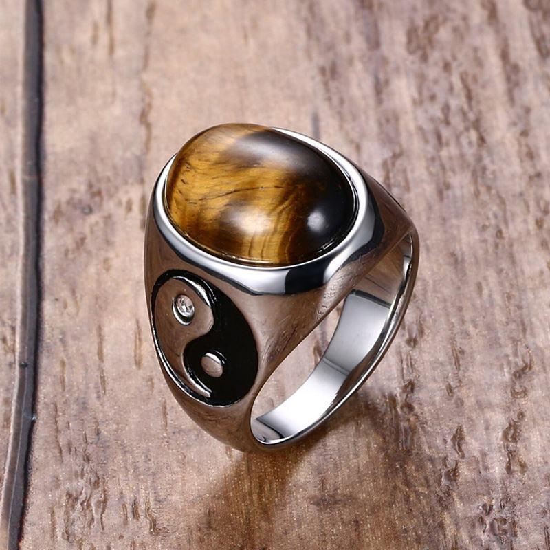 Hombres Vintage niño Oval Ojo de Tigre marrón piedras con símbolo Yin-Yang anillo en joyería de acero inoxidable para hombre Accesorios Anel comentado