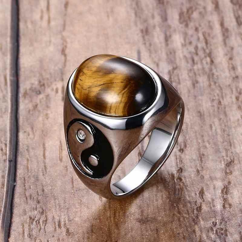 ผู้ชาย TIGER EYE BROWN หิน YIN YANG SIGNET แหวนสแตนเลสเครื่องประดับ VINTAGE MENS อุปกรณ์เสริม
