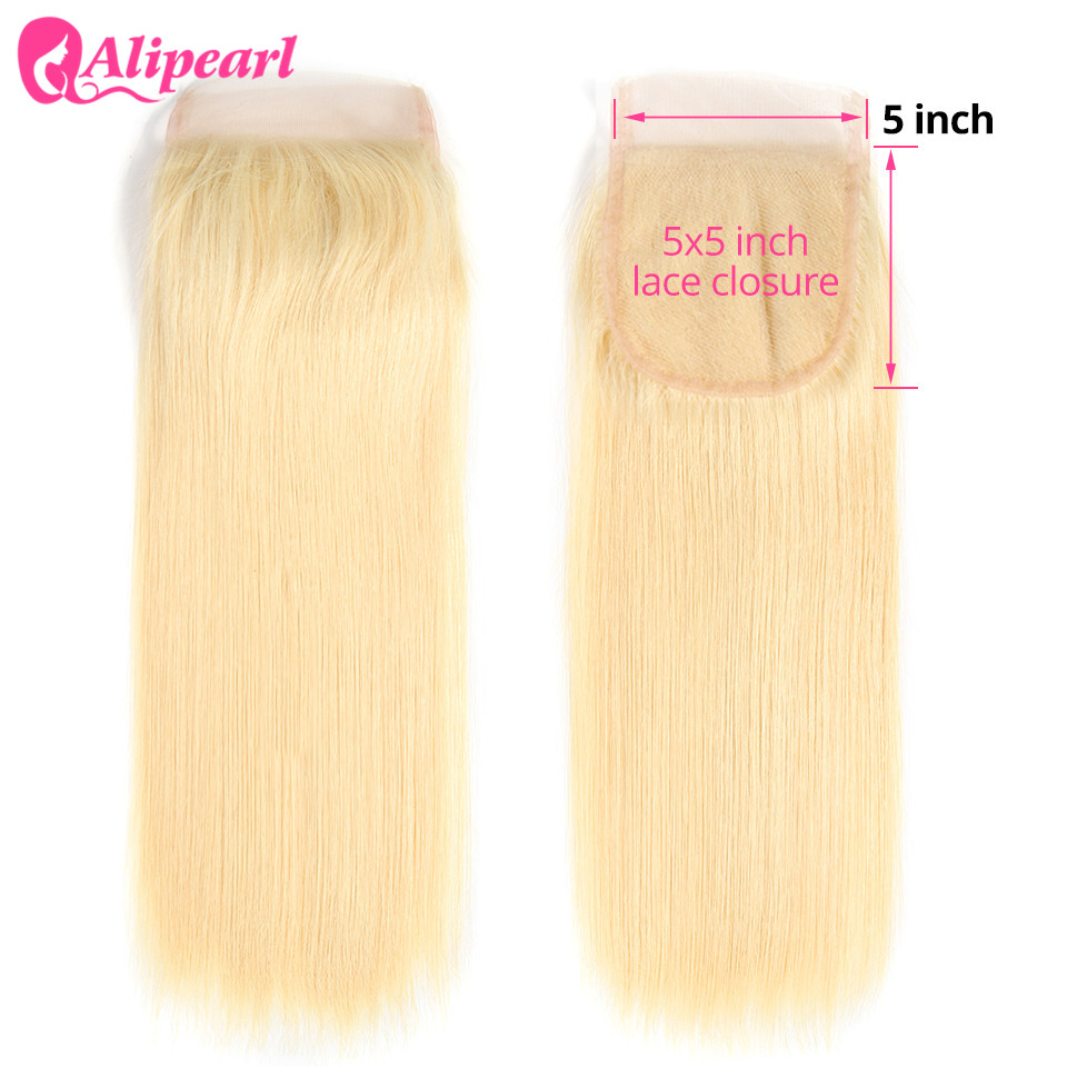 AliPearl Hair 613 Blonde Straight 5x5 Closure Free Part Brazilian Human Hair Lace Closure Swiss Lace 8''-20'' Remy Hair