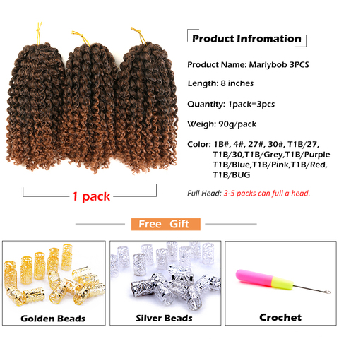 SAMBRAID kinky Twist Hair Crochet Braids 8 inches Curly Crochet Hair Ombre Braiding Hair Marlybob Synthetic Hair Extensions Lahore