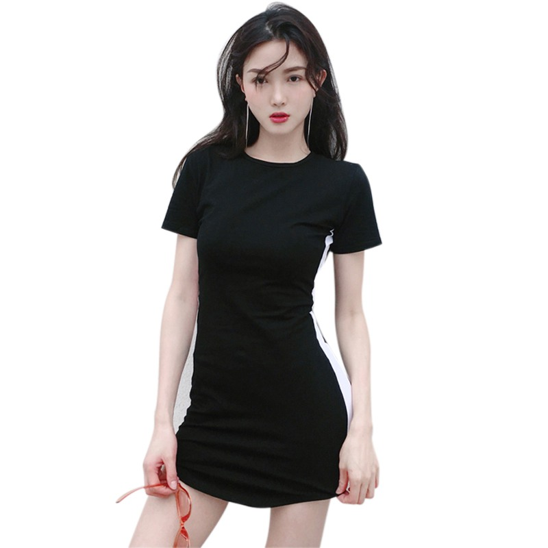 Women Summer T Shirt Dress Black White Women Bodycon Pencil Dress Casual Short Sleeve O Neck Striped Dress Female