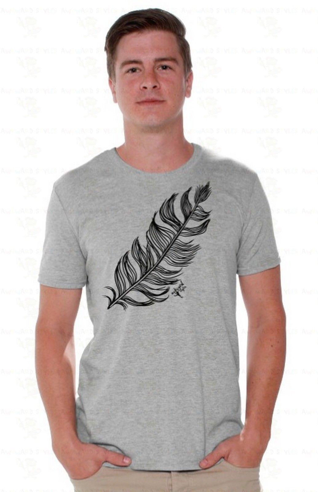 Feather Mens T-SHIRT Lucky Gift Native American Southwest Tribal Shirt A15 Mens Short Sleeve Tees