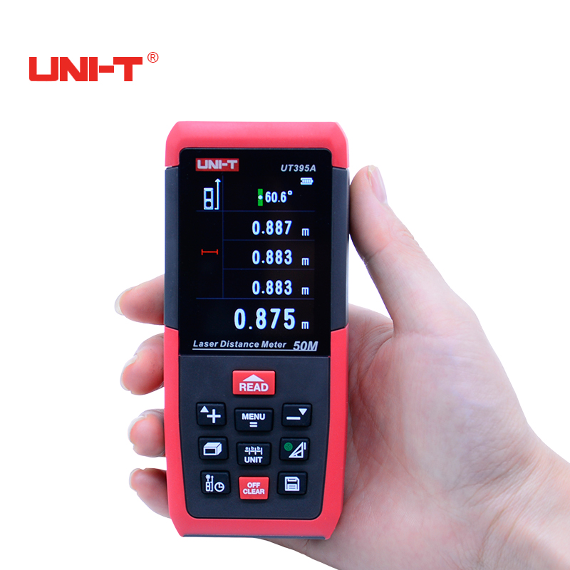 UNI-T UT395A 2MP Lens Rangefinder 50m Range Finder Laser Distance Meters Best Accuracy 2mm USB Data Export PC Software unit ut395a ut395b ut395c laser distance meters 50m 70m 100m rangefinder best accuracy software data calculate continuous measur