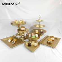 7 Pcs Wedding Tray Dessert Plate 3 Tier Wholesale Hanging Crystal Gold Pink White Thin Disk Cake Stand