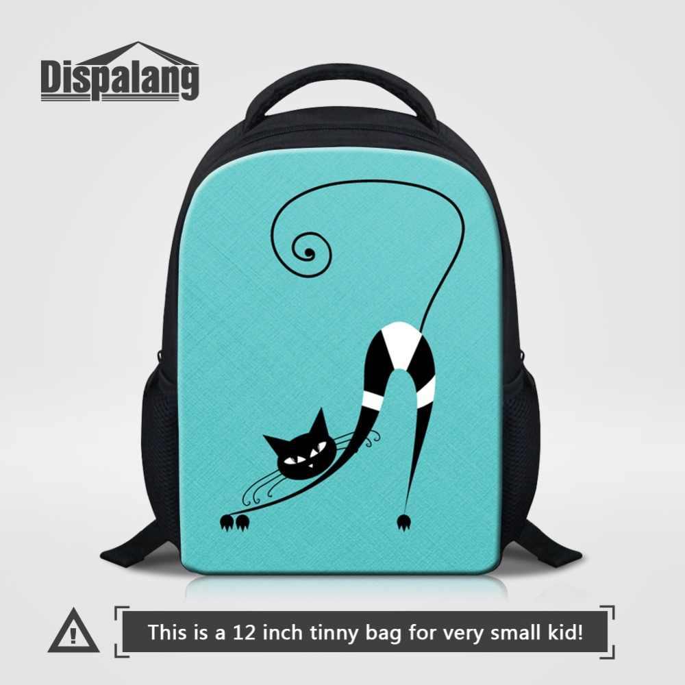 e8fcb6703a Kids Kindergarten Backpacks Cute Green Art Cat School Bags For Girl 12 Inch  Bookbag Children Small