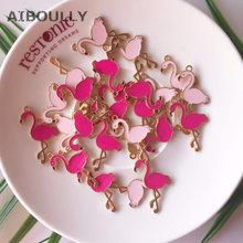 10PCS 17*28MM Flamingo Enamel Charms Alloy Bird Pendant For Bracelet Earring Making DIY Accessory(China)