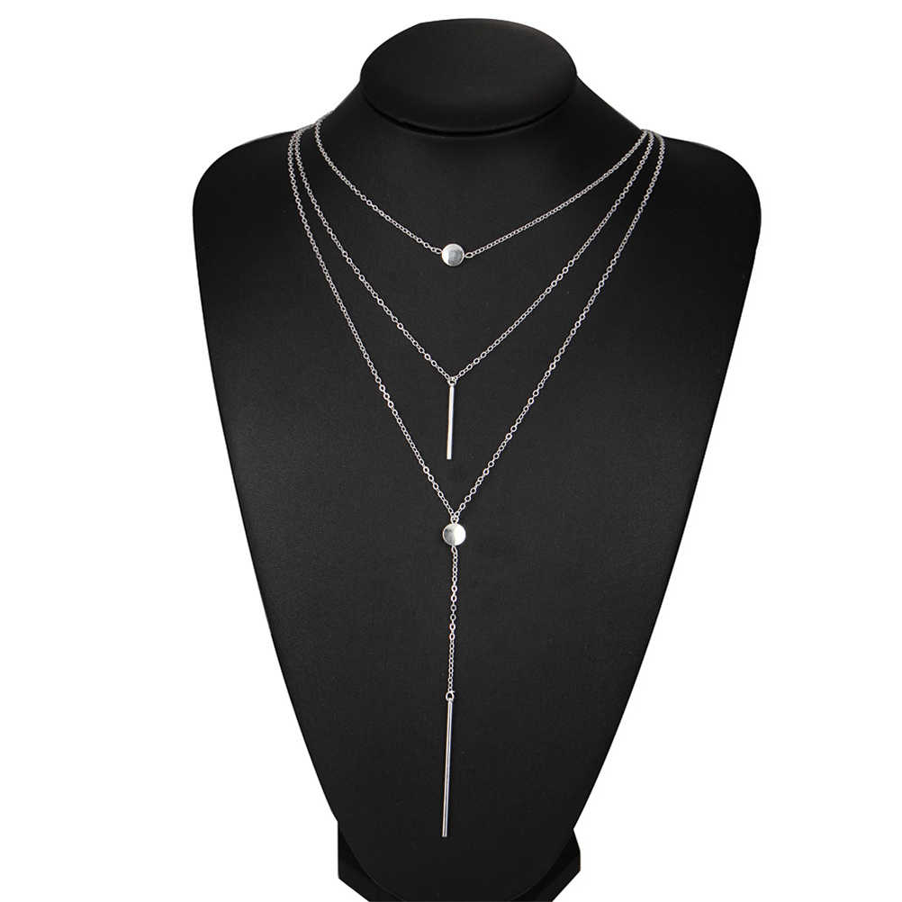 Multilayer Dot & Line Necklace Fashion Long Chain Necklace for Woman Jewelry Decoration (Silver)