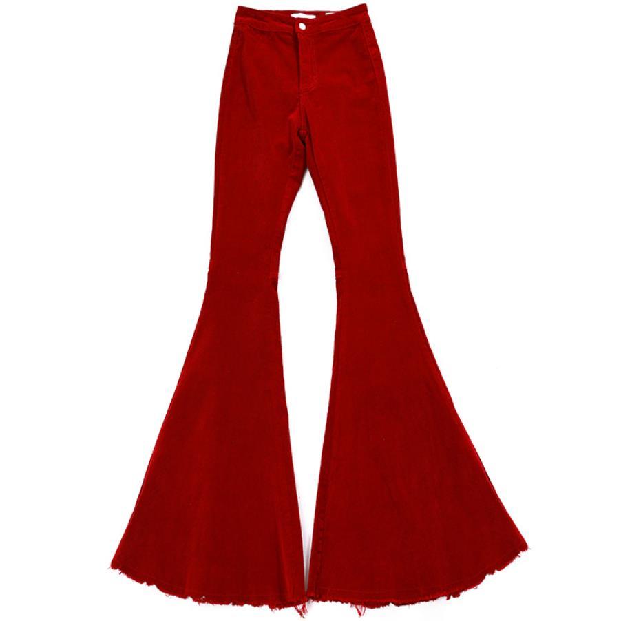 Corduroy high waist flare   pants     capris   Women high waist casual   pants   bottoms Khaki bodycon streetwear party club trousers