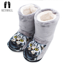 KESMALL Women Slippers 3D Cat Print Slippers Floor Thick Warm Winter Slippers Zapatos Mujer Home Indoor Plush Flat Plush Shoes