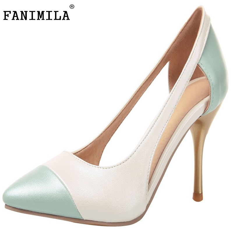 ФОТО Women Pointed Toe Thin Heel Shoes Woman New Design Fretwork Heels Pumps Ladies Fashion Party Office Shoes Size 35-46 B294