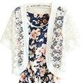 Summer New Small Shawl Korean short-sleeved Hook Flower Lace Sunscreen Knit Cardigan Jacket Short Sweater Women Vestidos LXJ225