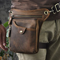 New Men's Vintage First Layer Cowhide Genuine Leather Drop Leg Fanny Waist Pack Belt Hip Bum  Messenger Cross Body Shoulder Bag