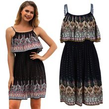 Vacation Beach dress summer dresses women's Bohemian printing Trendy Dress fashion straight knee-length sexy Backless S1770(China)