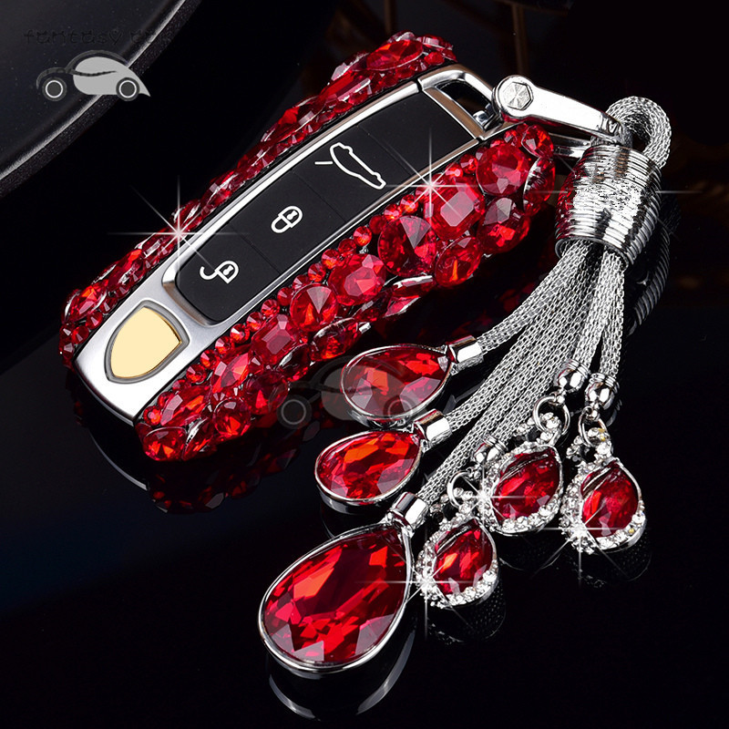 Beautiful Crystal Car Key Cover Shell For Porsche Cayenne 2019 Keys Styling Case with Keychain for WomenBeautiful Crystal Car Key Cover Shell For Porsche Cayenne 2019 Keys Styling Case with Keychain for Women