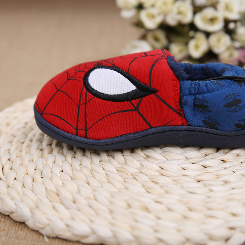 Disney slippers winter todder spiderman home slippers baby boy warm plush shoes cartoon animation floor pantuflas terlik (16)