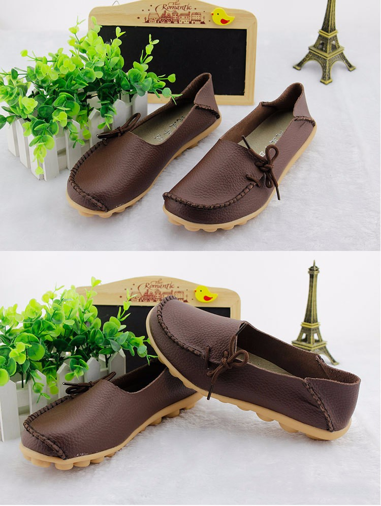 2016 New Real Leather Woman Flats Moccasins Mother Loafers Lacing Female Driving Casual Shoes In 16 Colors Size 34-44 ST179 (17)