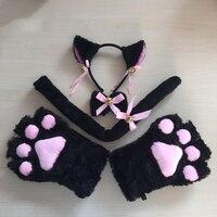 Lovelive cospaly 5 kawail قطعة/مجموعة لطيف آذان القط مواء ثقب المفتاح التطريز كشكش مجموعة خادمة لوليتا أفخم القفازات باو الأذن الذيل FX30
