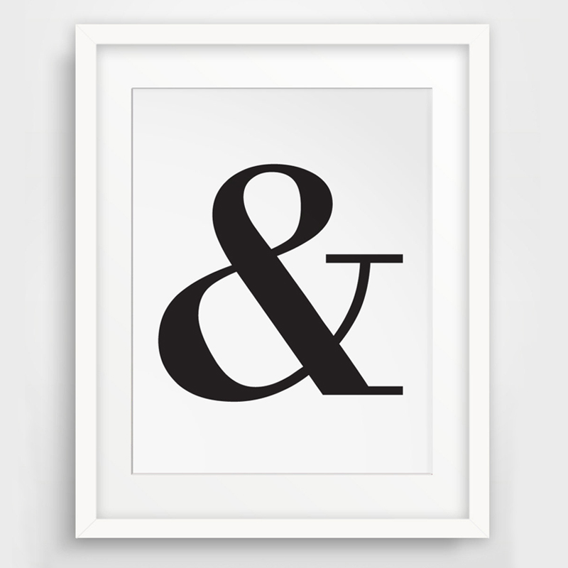 Ampersand, And Letter Symbol, Black And White Typography
