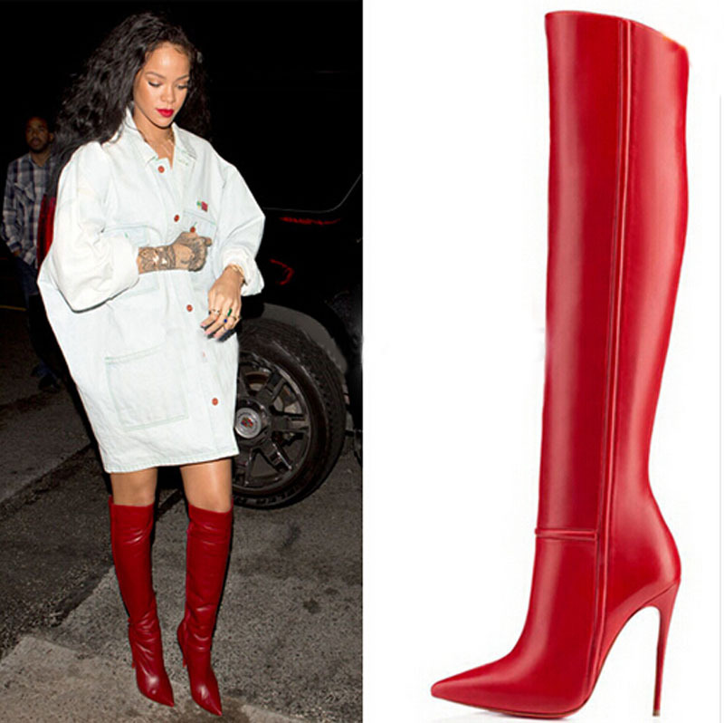 178d767a7c6 newest celebrity high heel boots red leather high quality pointed toe knee  high winter boots -in Knee-High Boots from Shoes on Aliexpress.com
