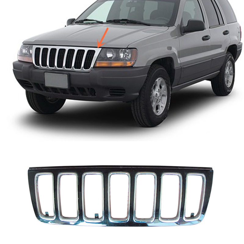 For Jeep Grand Cherokee 1999 2003 ABS Plastic Front Bumper with Car grille Net A