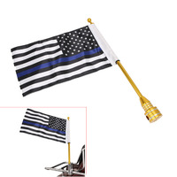 Motorcycle Gold Mount Flag Pole Thin Blue Line USA Flag For Harley Davidson HD Dyna Fat