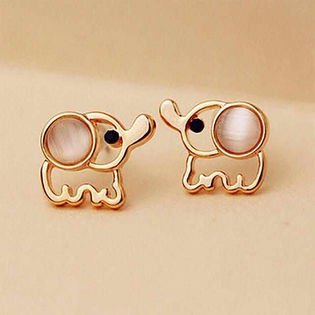 Women Men Gold Color Elephant Stud Earrings White Pink Rhinestone Cat Eye  Stone Opal Earring Ear 62ea8832c69a