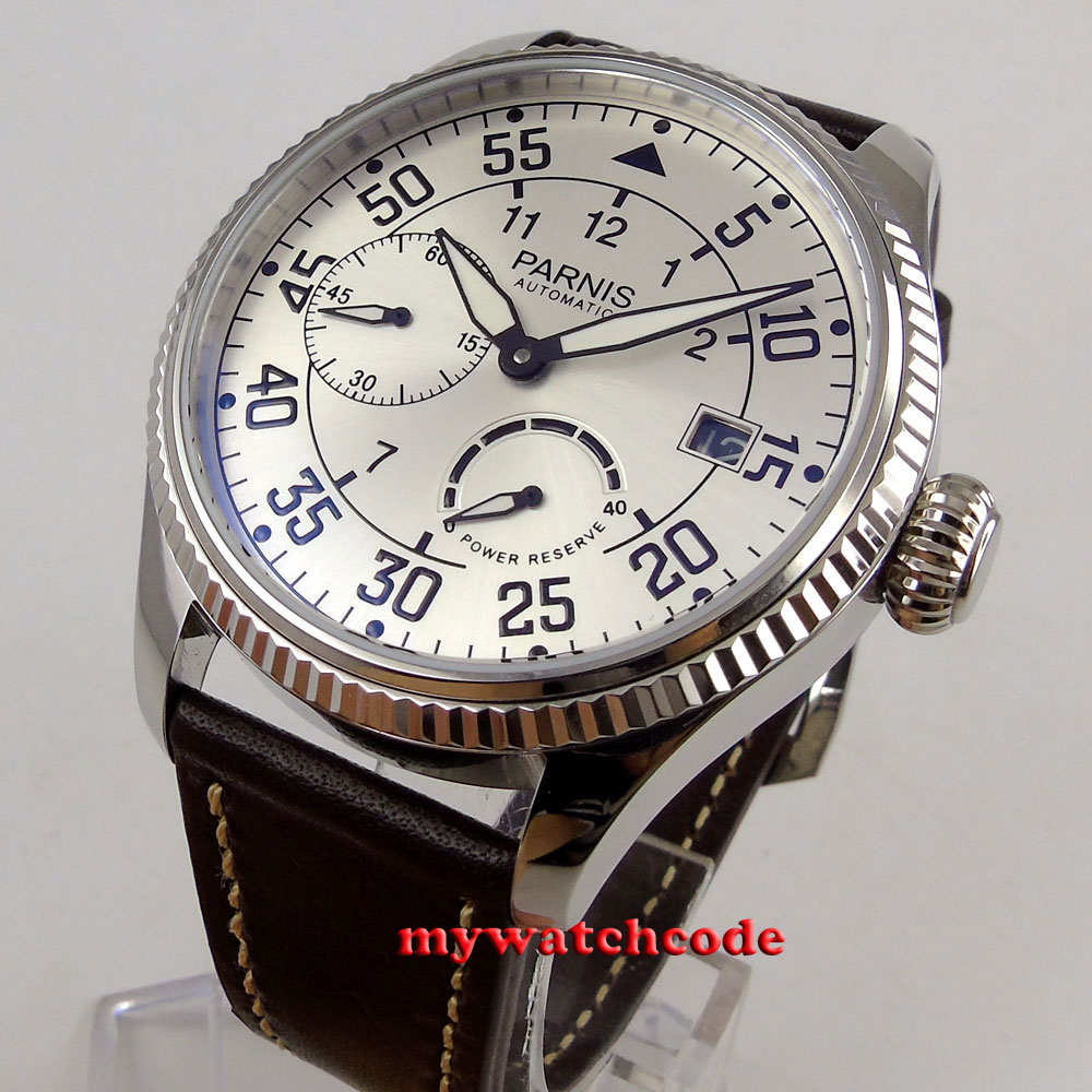 лучшая цена 45mm Parnis white dial date power reserve ST2530 Automatic Movement Mens Watch