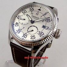 45 мм Parnis белый Дата циферблат Запас хода ST2530 автоматический механизм мужские часы