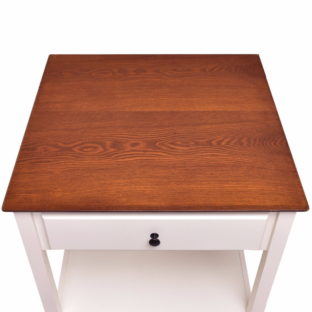 Wood Side Table Night Stand Coffee Table With Drawer Small
