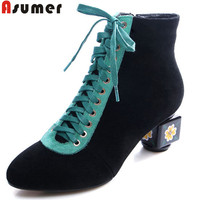 ASUMER black fashion autumn winter ankle boots round toe zip cross tied suede leather boots thick high heels women boots big siz