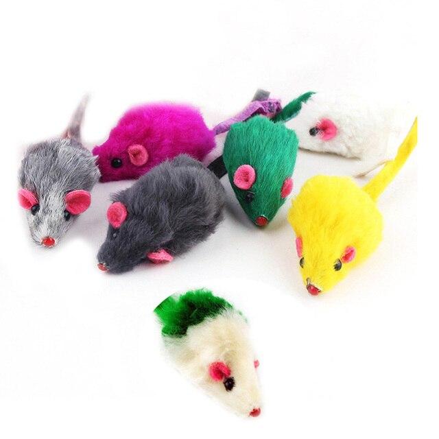 5 pz/lotto Colorato Interactive Cat Toy Morbida Pelliccia Del Coniglio Del Mouse