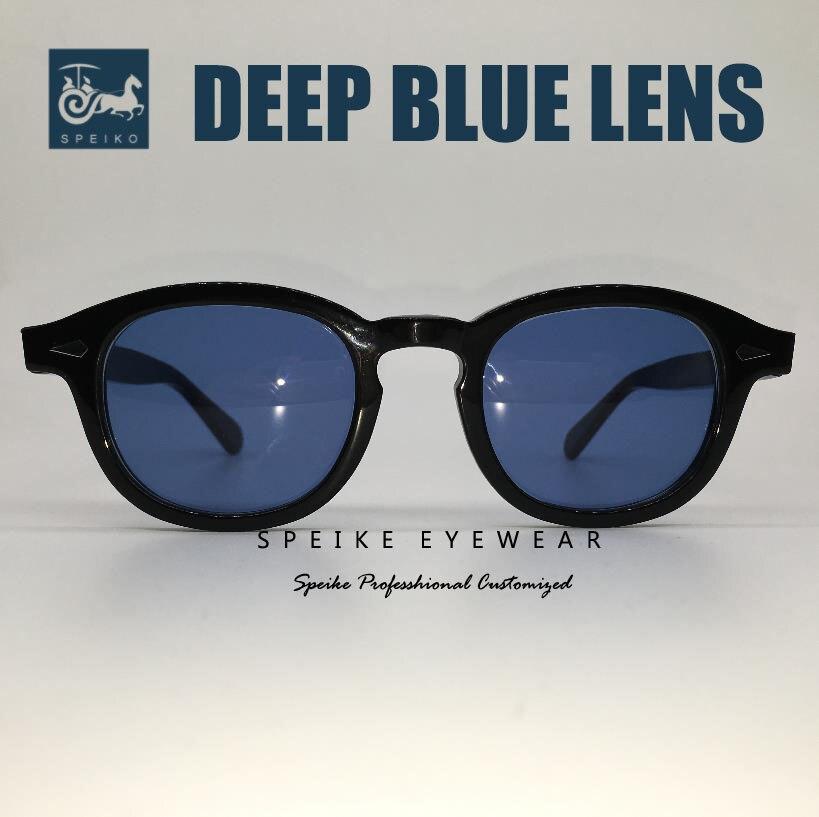 SPEIKE Customized vintage blue lenses sunglasses Johnny Depp Lemtosh style retro porlarized glasses can be myopia sunglasses