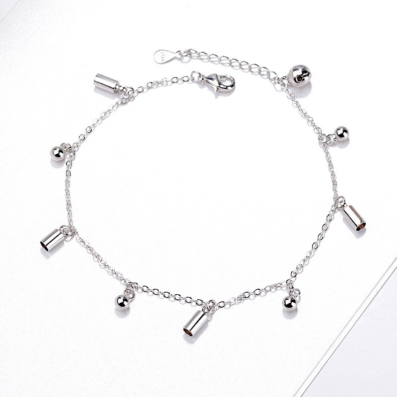 2019 Korean fashion 925 sterling silver foot anklet cylindrical round bead leg bracelet accessories female girl women jewelry 1