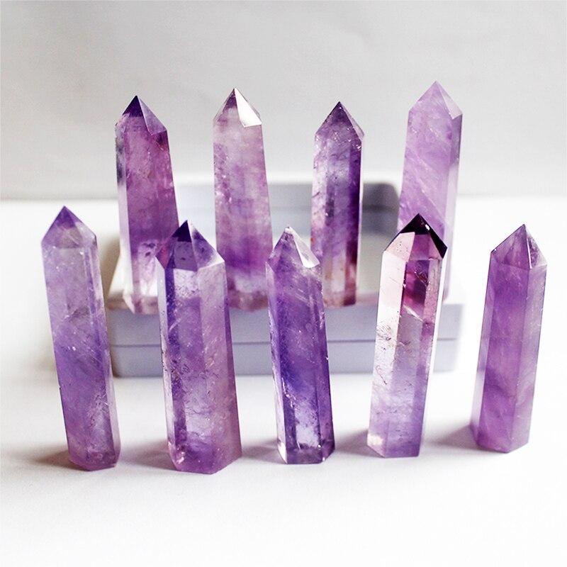 Alta qualidade seis prisma coluna de cristal natural ametista pedra crua moagem cristal artesanato