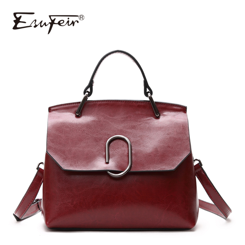 ESUFEIR Brand Genuine Leather Women Shoulder Bag Real Cow Leather Handbag Famous Design Crossbody Bag Casual Tote Top-handle Bag esufeir brand genuine leather women handbag cross pattern cow leather shoulder bag fashion design top handle trapeze women bag