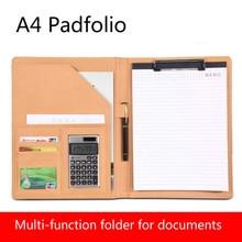 A4 Clipboard Padfolio многофункциональная наполнение продуктов папка для документов школьный органайзер для офисных принадлежностей PU Портфель HJW311