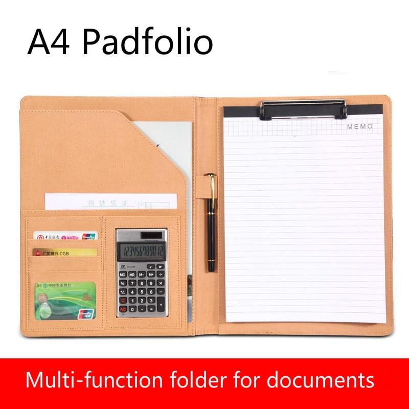 A4 portapapeles Padfolio multifunción llenado de productos Carpeta para documentos escuela suministros de oficina organizador PU cartera HJW311
